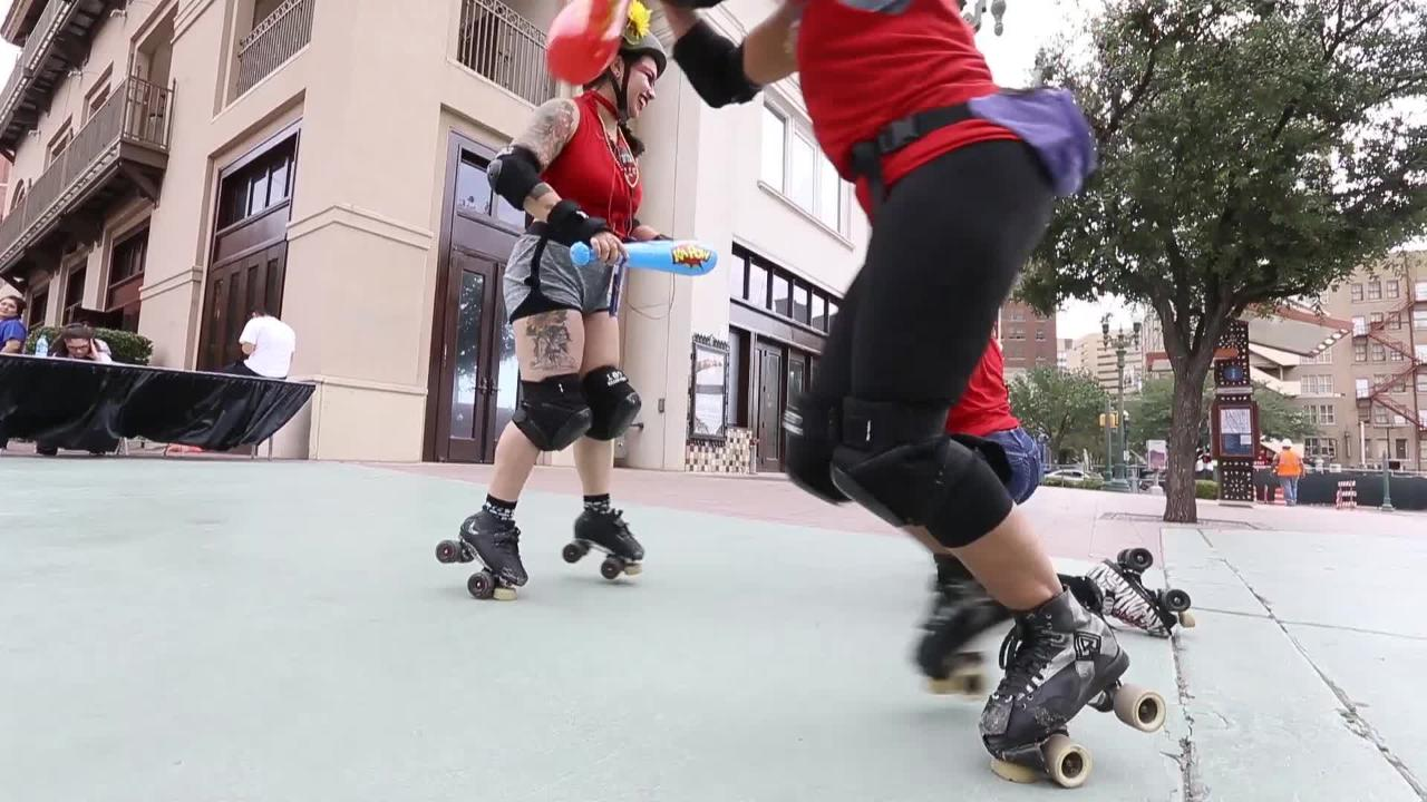 The inaugural Running With the Bulls was held Saturday in downtown El Paso. Roller Derby girls dressed as bulls chased participants through the streets.