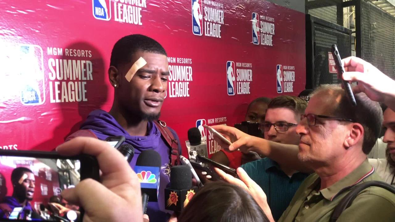 The Phoenix Suns' Josh Jackson talks to the press after the Suns' win against Sacramento Kings.