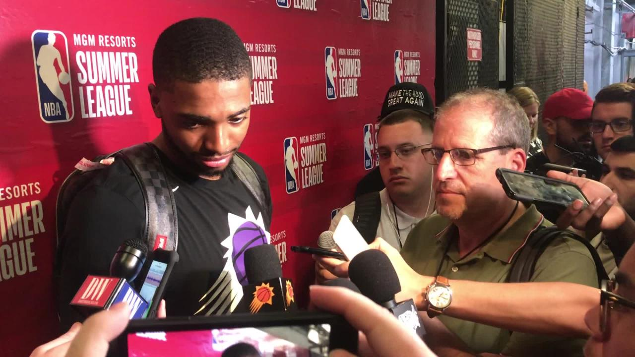 Phoenix Suns rookie Mikal Bridges speaks to the media after the Sun's win against the  Sacramento Kings on the second day of the NBA Summer League.