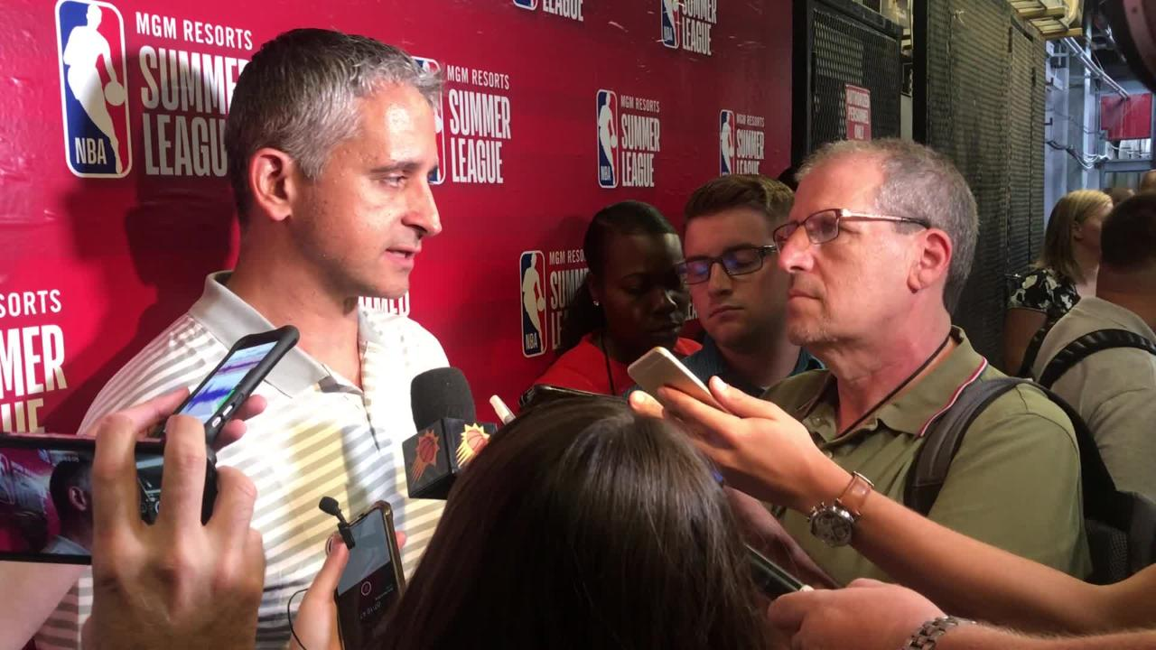 Phoenix Suns coach Igor Kokoskov talks to the media after the Suns' win against the Sacramento Kings in the second day of the NBA Summer League.