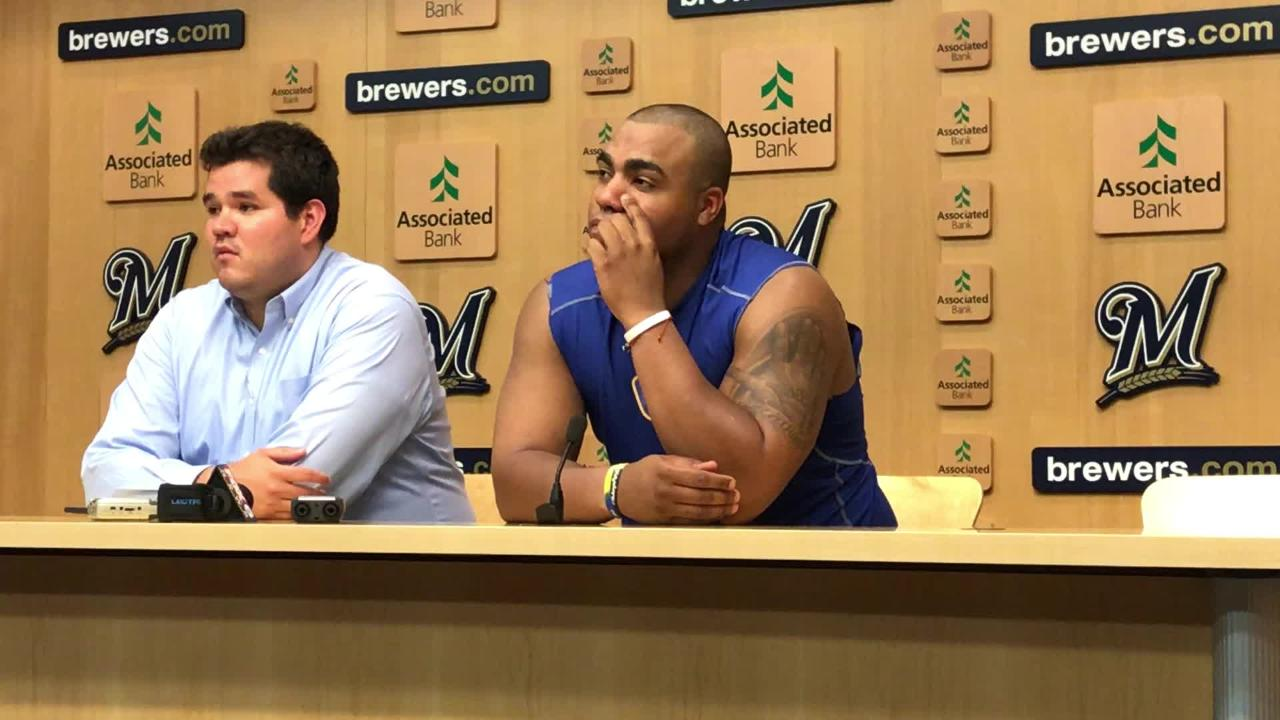 Jesus Aguilar, along with team translator Carlos Brizuela, discuss his candidacy for the final spot on the National League All Star team.