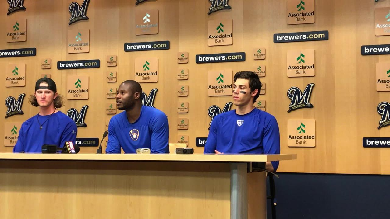 The three Brewers selected to the 2018 All-Star Game -- Josh Hader, Lorenzo Cain and Christian Yelich -- met with reporters after Sunday's win.