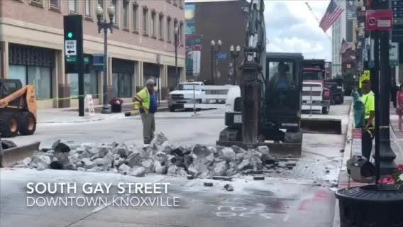 A construction project began downtown on Gay Street to replace eight brick crosswalks with stained stamped concrete.