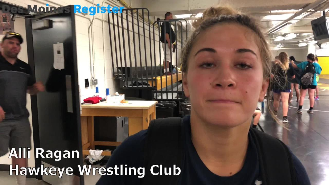 Alli Ragan, a member of the Hawkeye Wrestling Club, talks after the Iowa wrestling program's first-ever all-girls' summer camp.