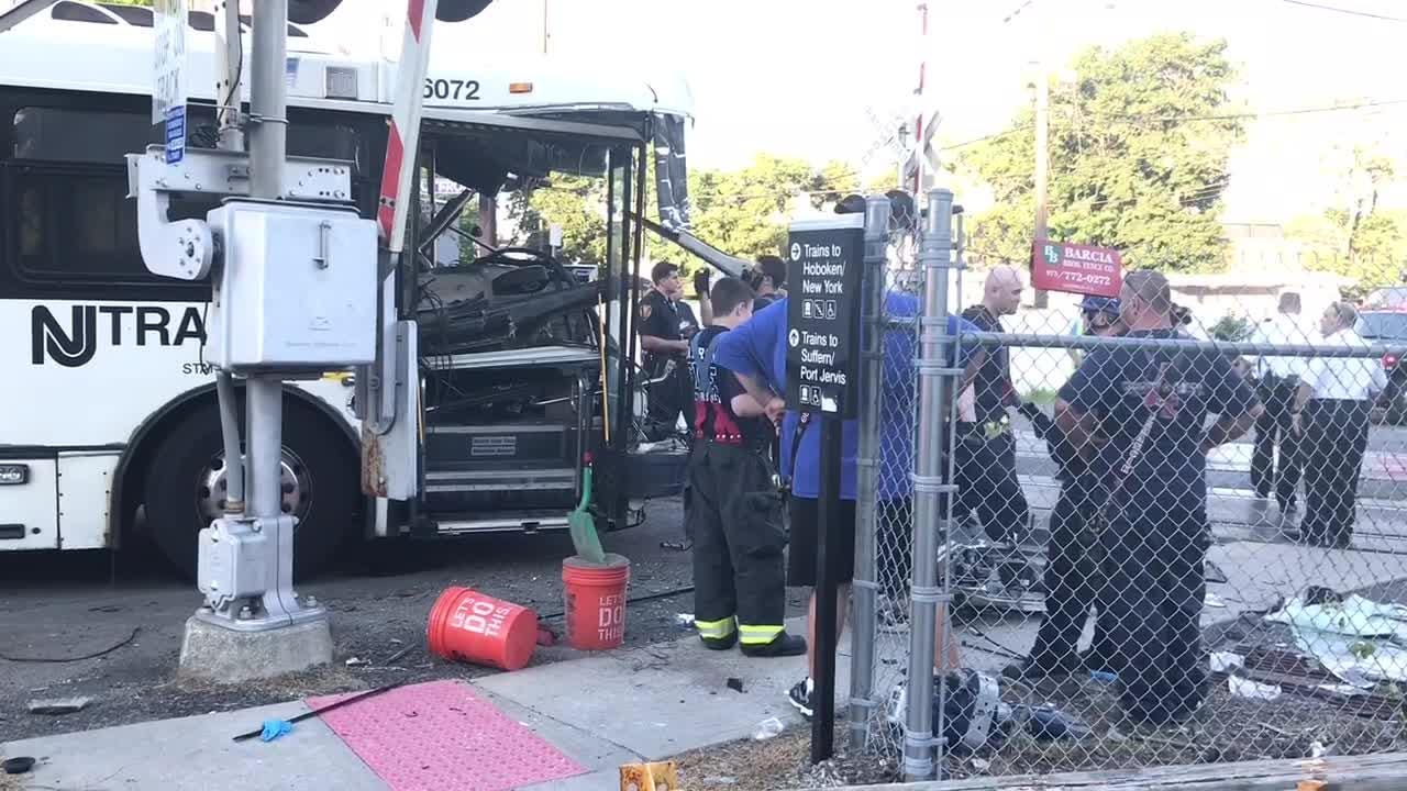 An NJ transit train collided with a bus near the corner of Midland Avenue and Outwater Lane in Garfield on 07/09/18.