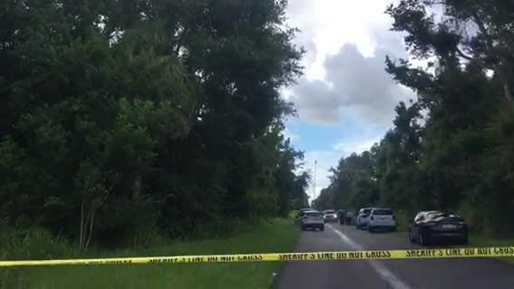 A dead body was found in a burning car in a wooded area in east Mims.