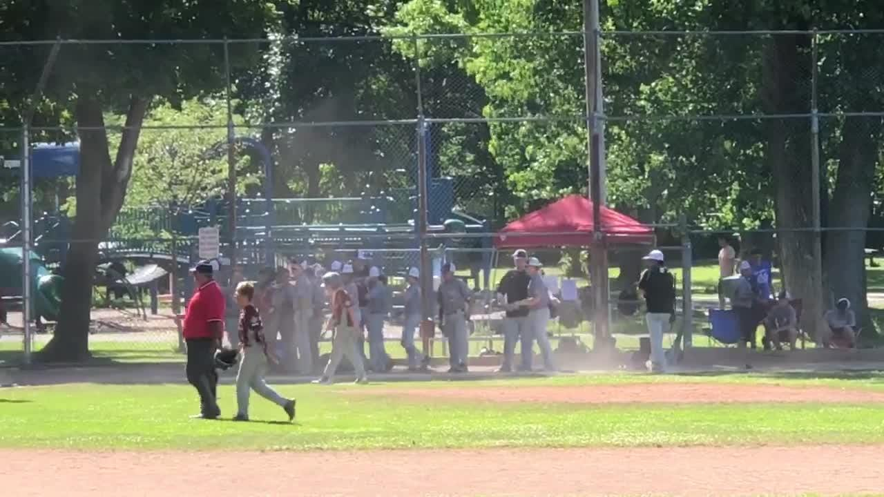 Elmira Cal Ripken 12-under all-stars close out win over Eden in title game of the Western N.Y. State Championships. Video provided by Tom Morrell.