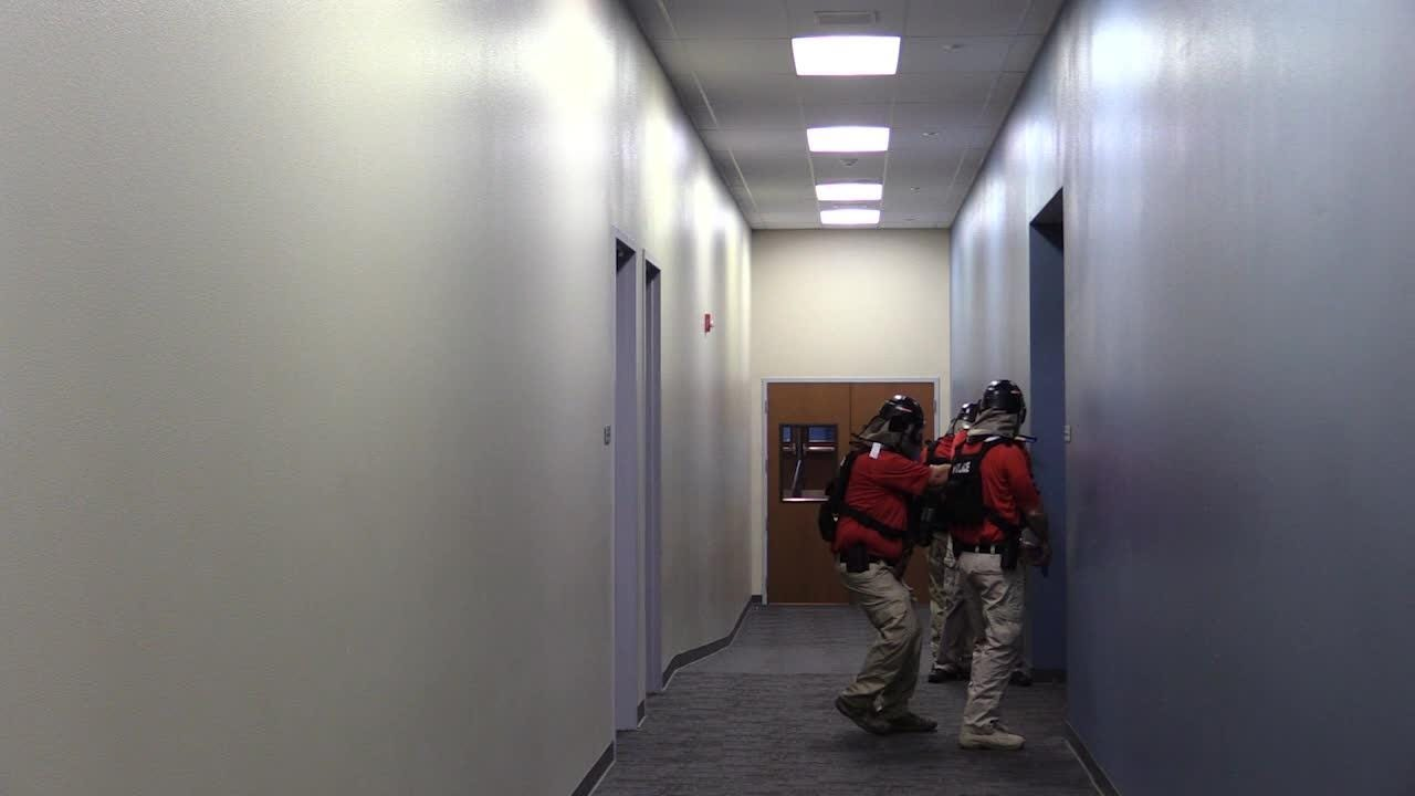 The Indio Police Department, CalFire and Desert Sands Unified School District conduct an active shooter training at Indio High School.