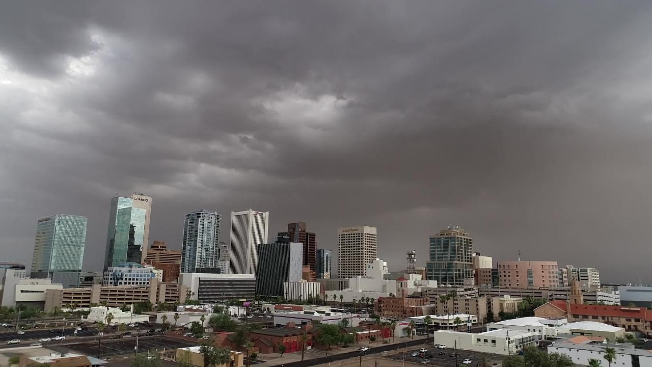 The Phoenix metro saw more dust and rain move into the area on July 10, 2018.