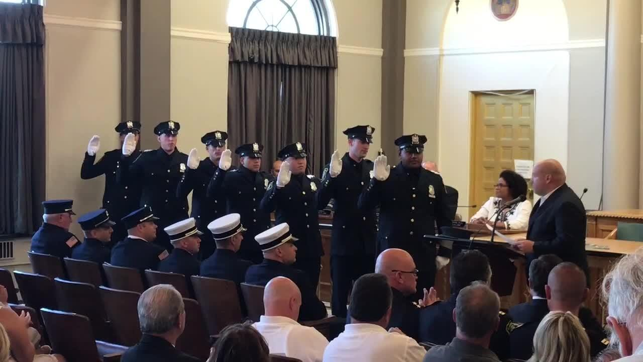 Bloomfield officials swore in seven new police officers and six newly promoted fire officials on Tuesday, July 10, 2018.