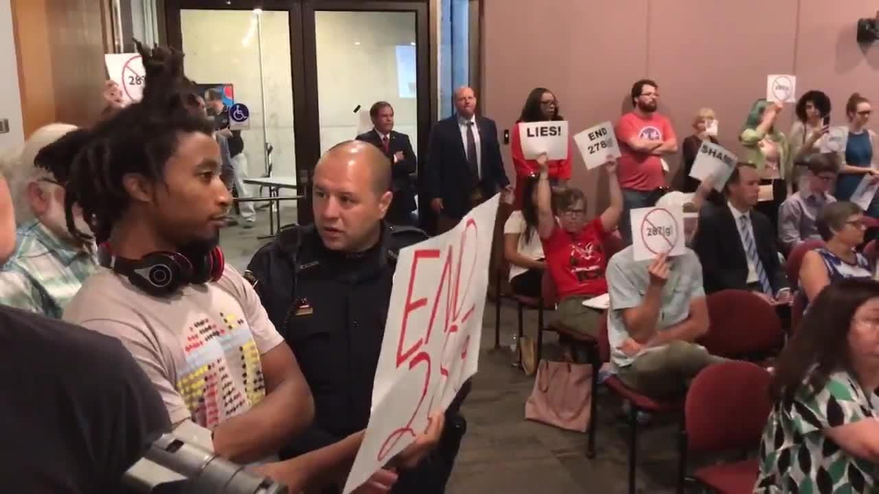 Protesters disrupted an ICE meeting at the City County building in Knoxville on July 11, 2018.
