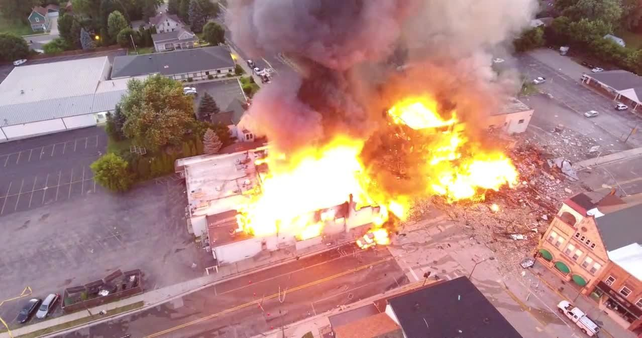 Dramatic drone video shows huge downtown Sun Prairie fire resulting from gas explosion on Tuesday.