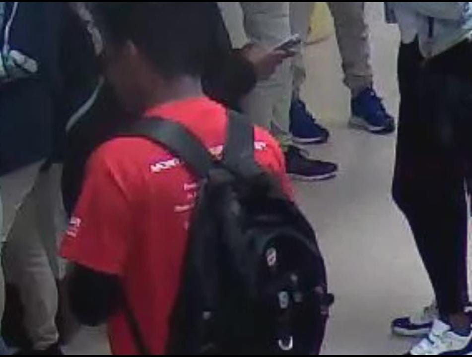 """A vice principal at Paterson's JFK was reassigned after a student complained that he """"kicked"""" her bag. Video is cropped to protect student identities."""