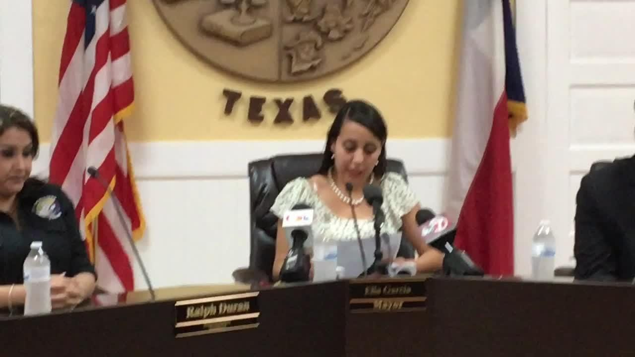 Socorro Mayor Elia Garcia speaks about an investigation into a leak of a police dash-camera video on a traffic stop involving city manager's son.