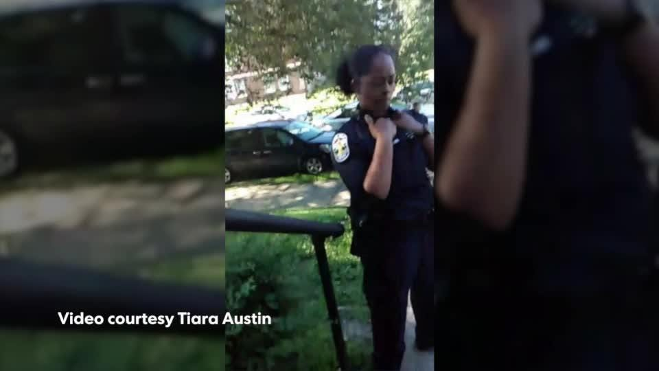 Hear LMPD officers and Tiara Austin go back-and-forth about whether an officer used offensive language.