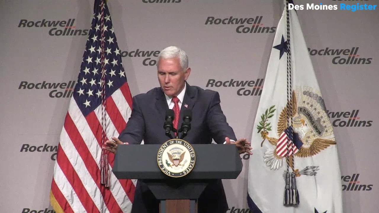 Vice President Mike Pence says the president is focused on making trade deals that benefit American farmers during a stop in Cedar Rapids, Iowa.