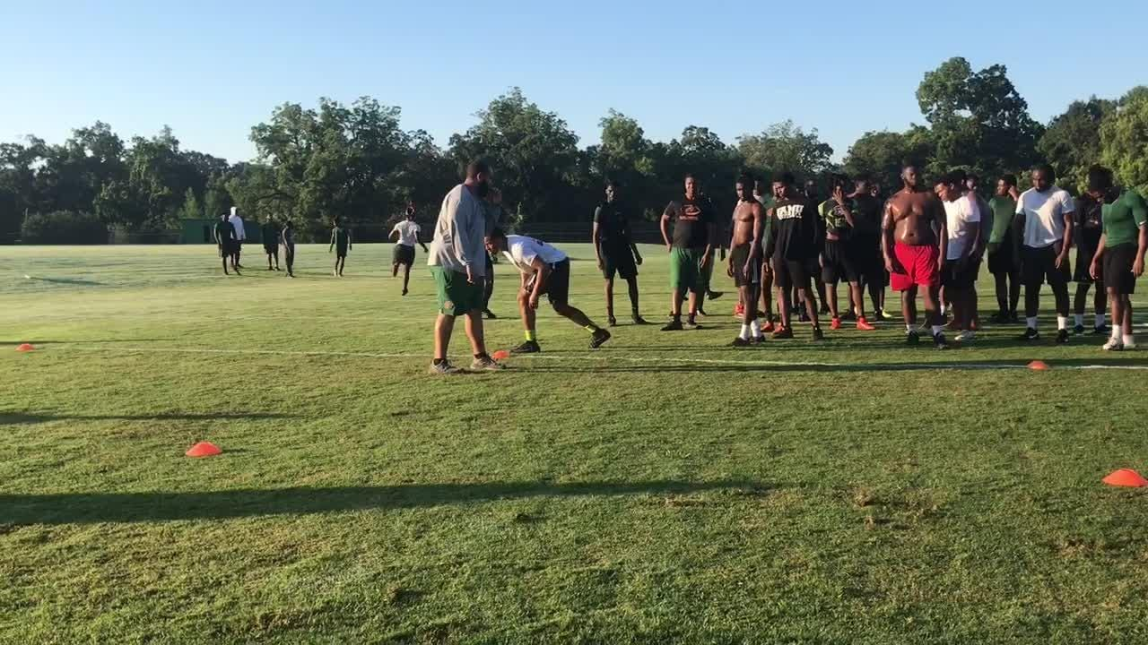 WATCH IT: FAMU players compete during six-cone triangle drill during summer workout session