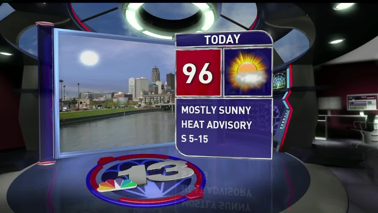 Thursday's forecast calls for sunny skies with a high of 96. With the heat index, it will feel above 100 degrees. The low is expected to be 74. Rain in forecast Friday through Monday.