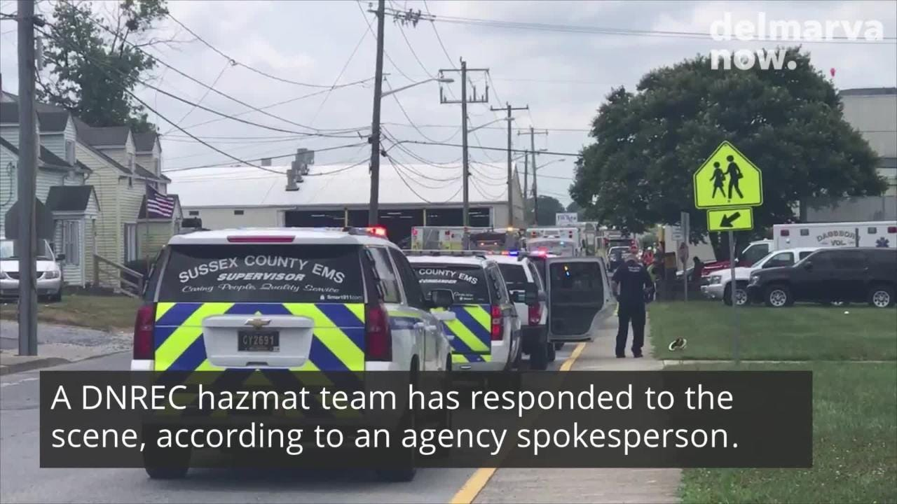 Raw video from the scene of a hazmat incident at Mountaire Farms in Selbyville on Thursday, July 12.