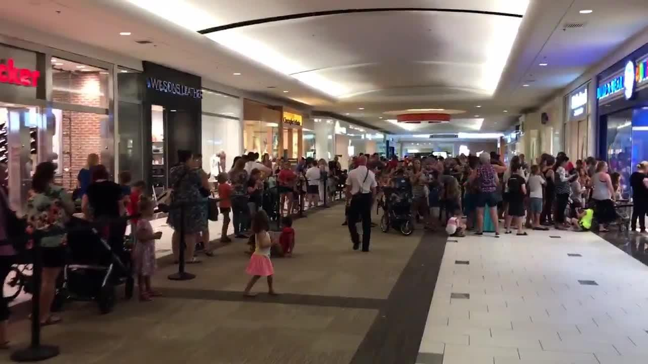 "Build-a Bear Workshop set up a one-day ""Pay Your Age"" promotion on Thursday. Several thousand customers showed up."