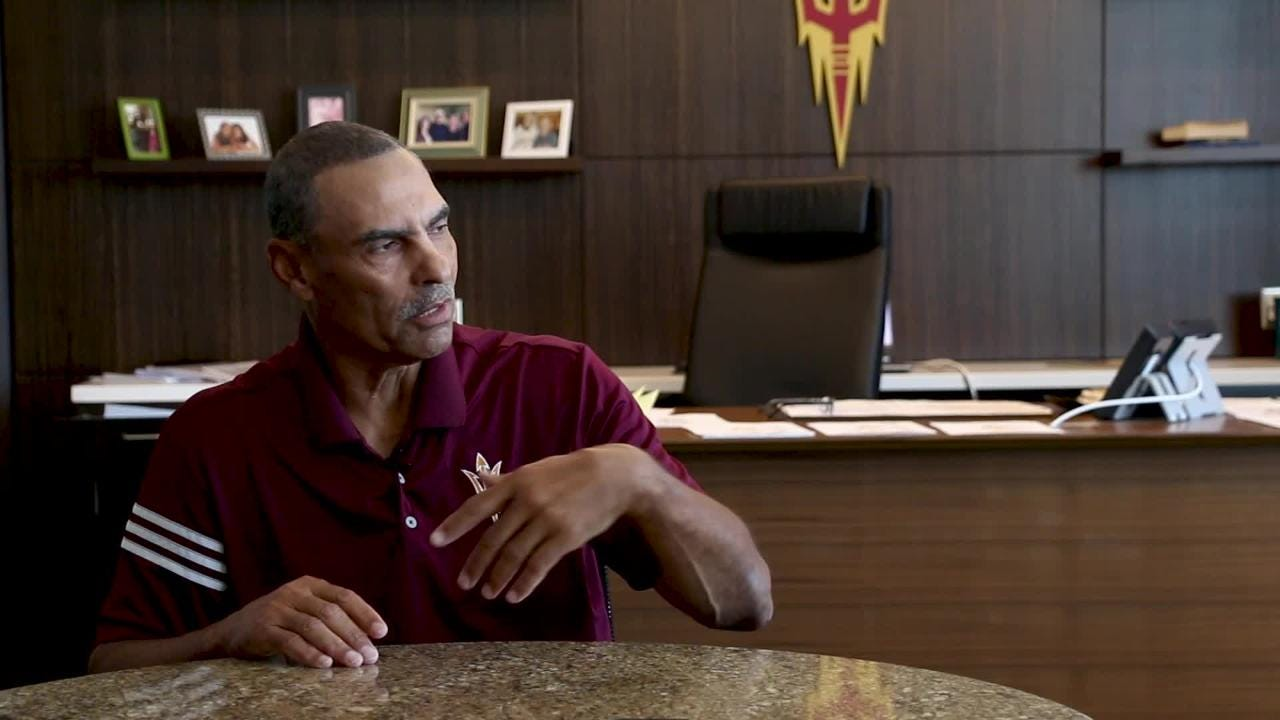 ASU football head coach Herm Edwards talks about keeping his word for Carl Peterson and Dick Vermeil and signing with the Philadelphia Eagles.