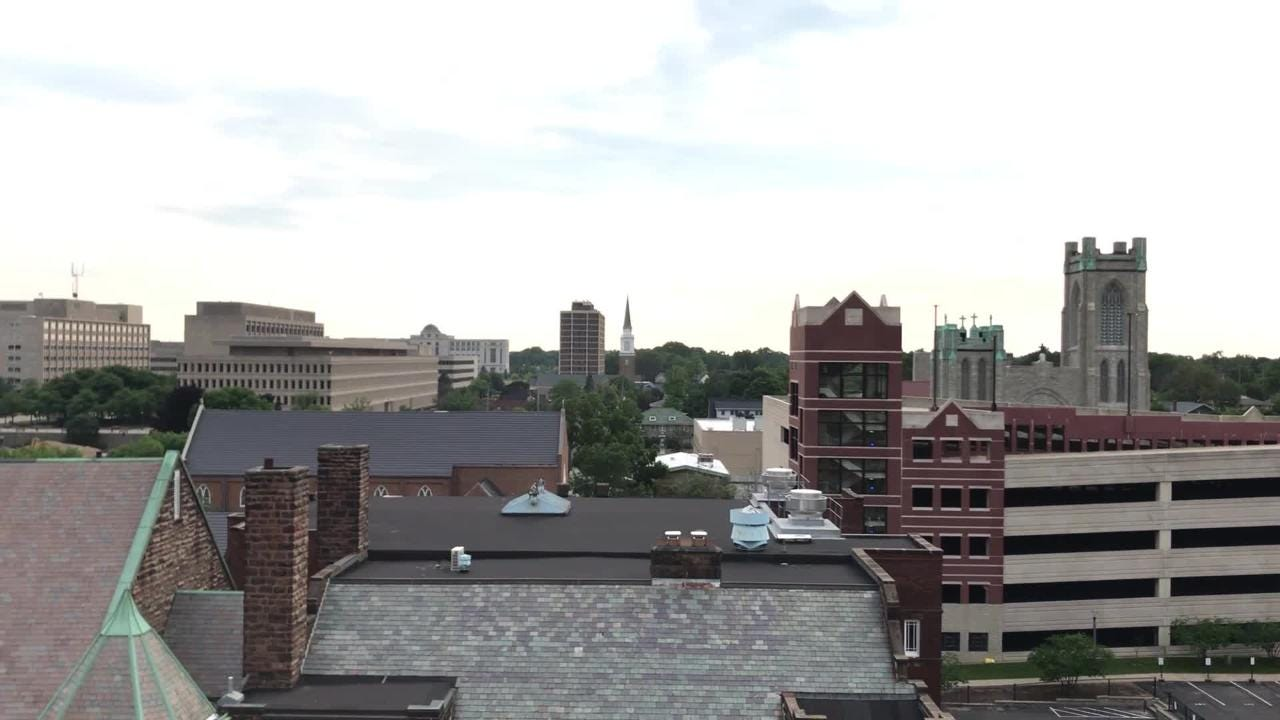 The view from these Lansing rooftops: The Knapp's Centre, The Christman Building and the Marketplace Apartments, as seen during the Rooftop Hop.