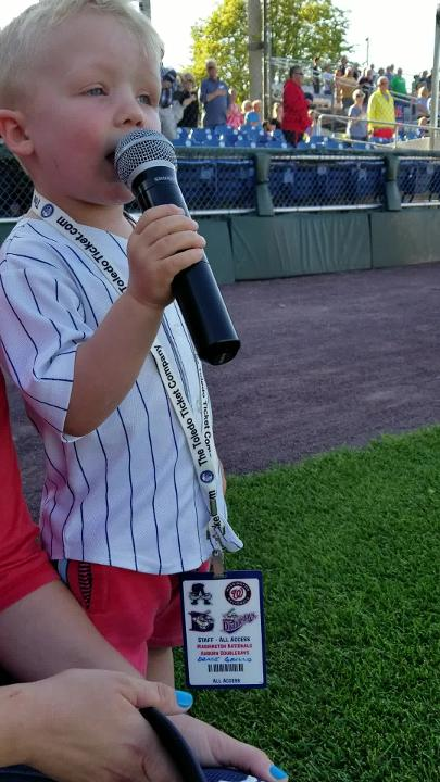 Three-year-old Drake Grillo of Auburn sang the National Anthem Wednesday night at a minor league baseball game in Auburn, Cayuga County.