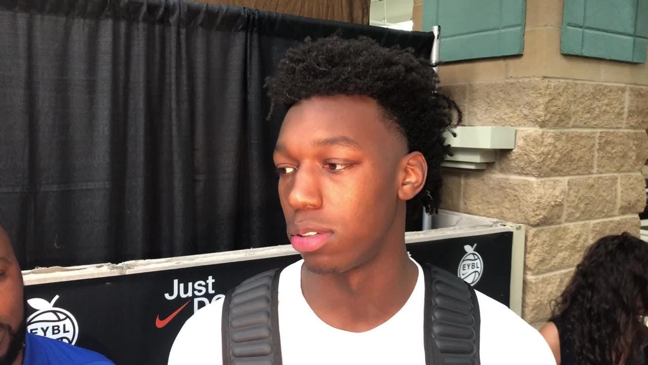 James Wiseman, No. 1 overall 2019 recruit and top Kentucky basketball target, talks at Peach Jam.