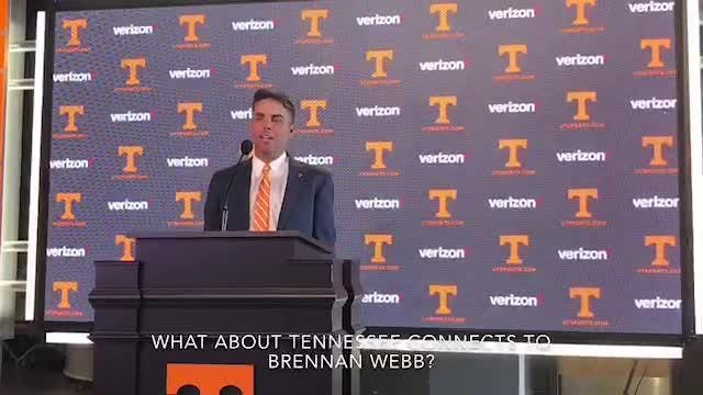 Brennan Webb answers questions from the media about his new position as Tennessee golf coach.