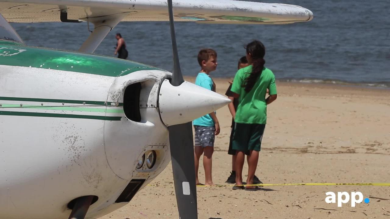 RAW VIDEO: Plane lands on beach in Keansburg