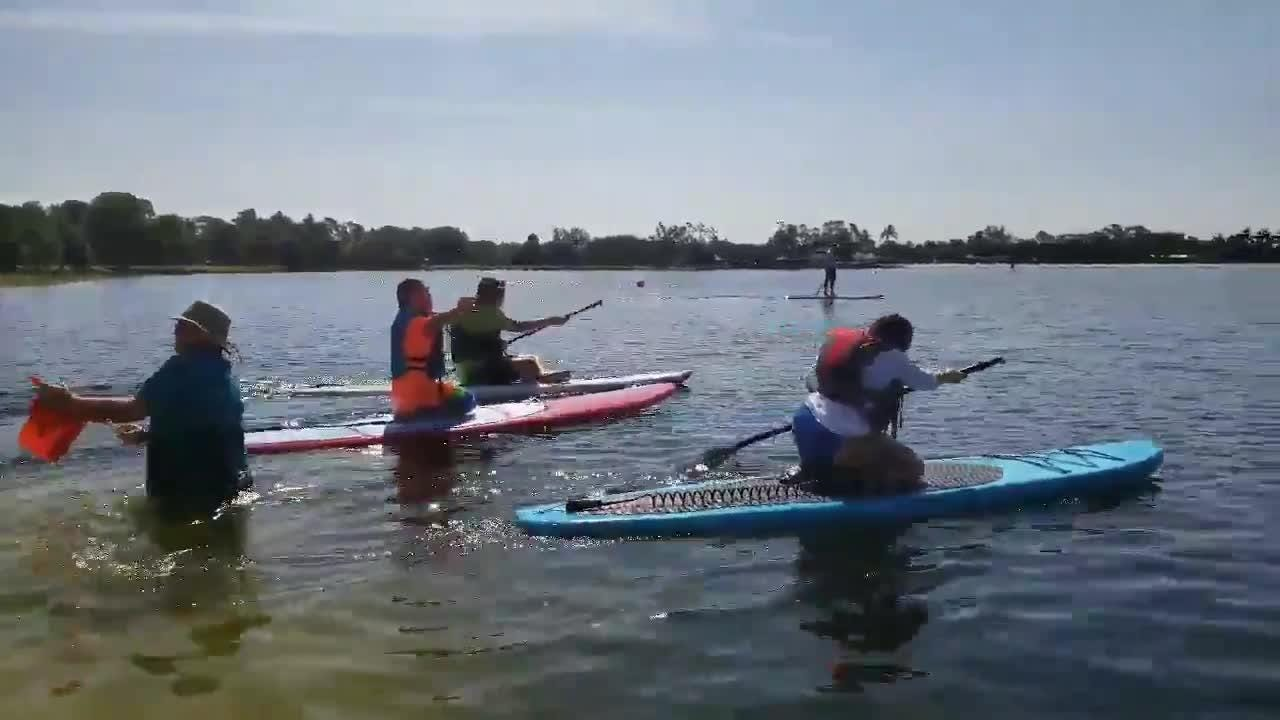 Collier County hosted the Area 9 Standup Paddle Competition at Sugden Regional Park in East Naples on Saturday, July 14, 2018. The athletes take off for their 2-lap paddleboarding race.