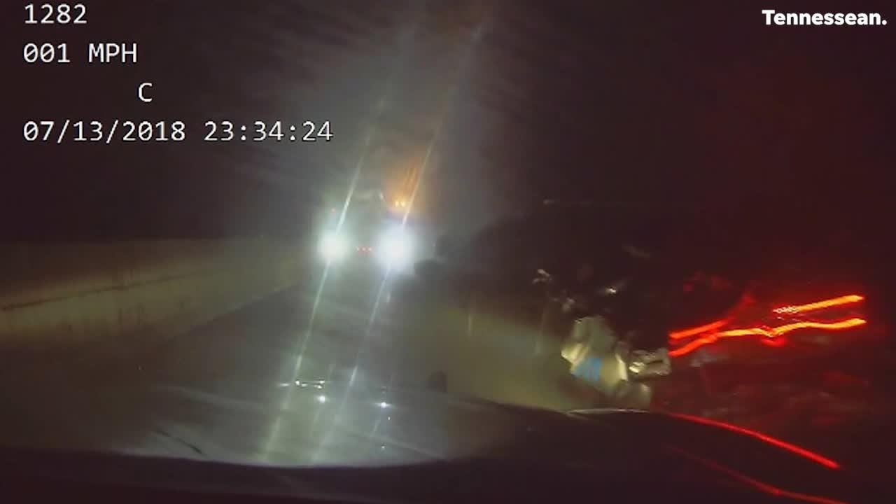 Brentwood police released a dash cam video of a police car getting read ended on I-65