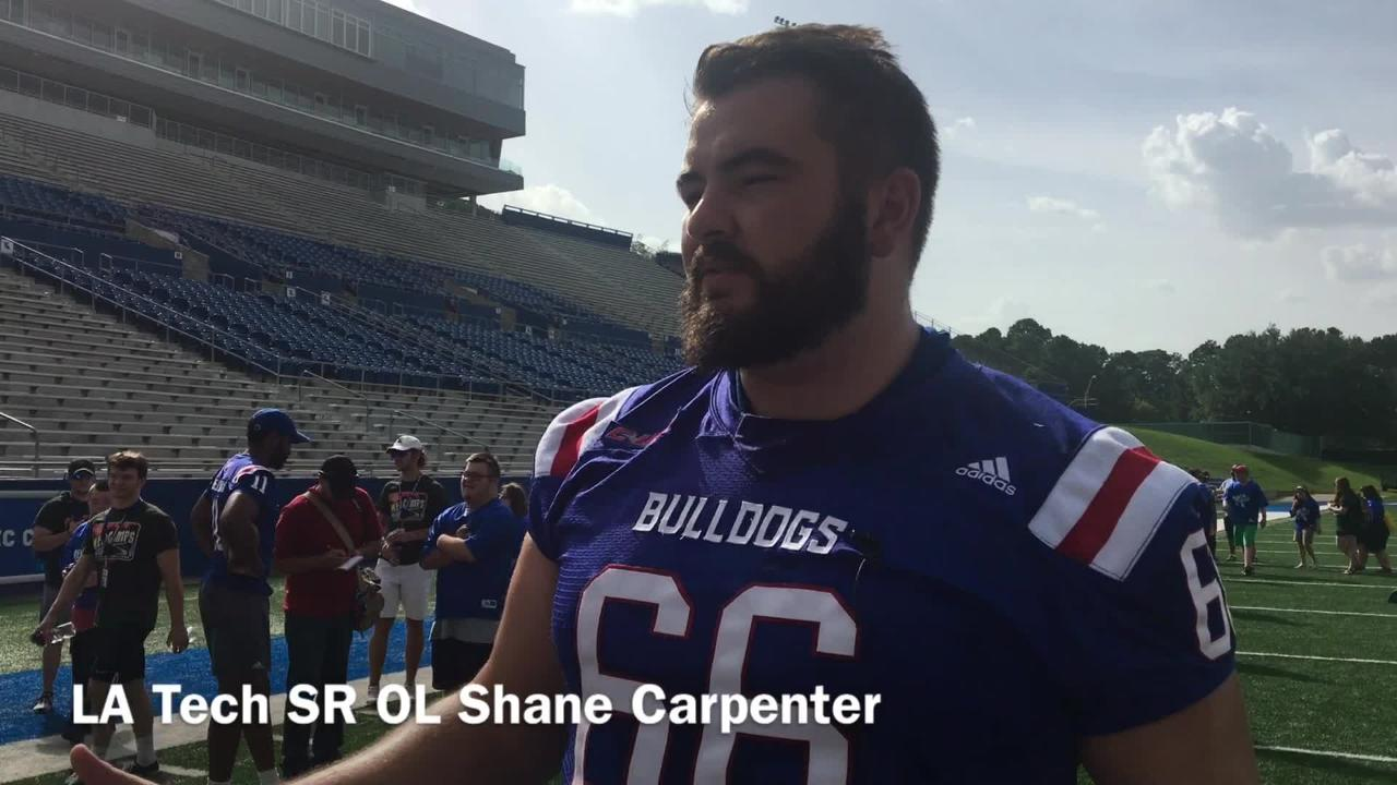 Louisiana Tech redshirt senior offensive lineman Shane Carpenter loved his opportunity to hang and work out with MedCamp Campers Monday.