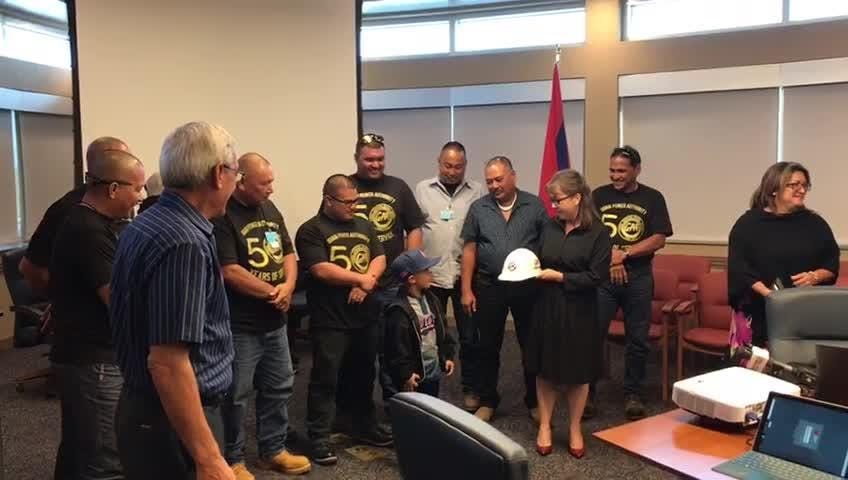 "Rene ""Rumble"" Purruganan recognized by GPA as honorary lineman for assisting GPA crew working on power restoration after Tropical Storm Maria."