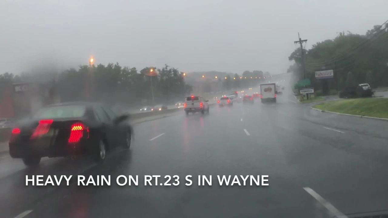 Heavy rain falls on Route 23 South in Wayne on 07/17/18.