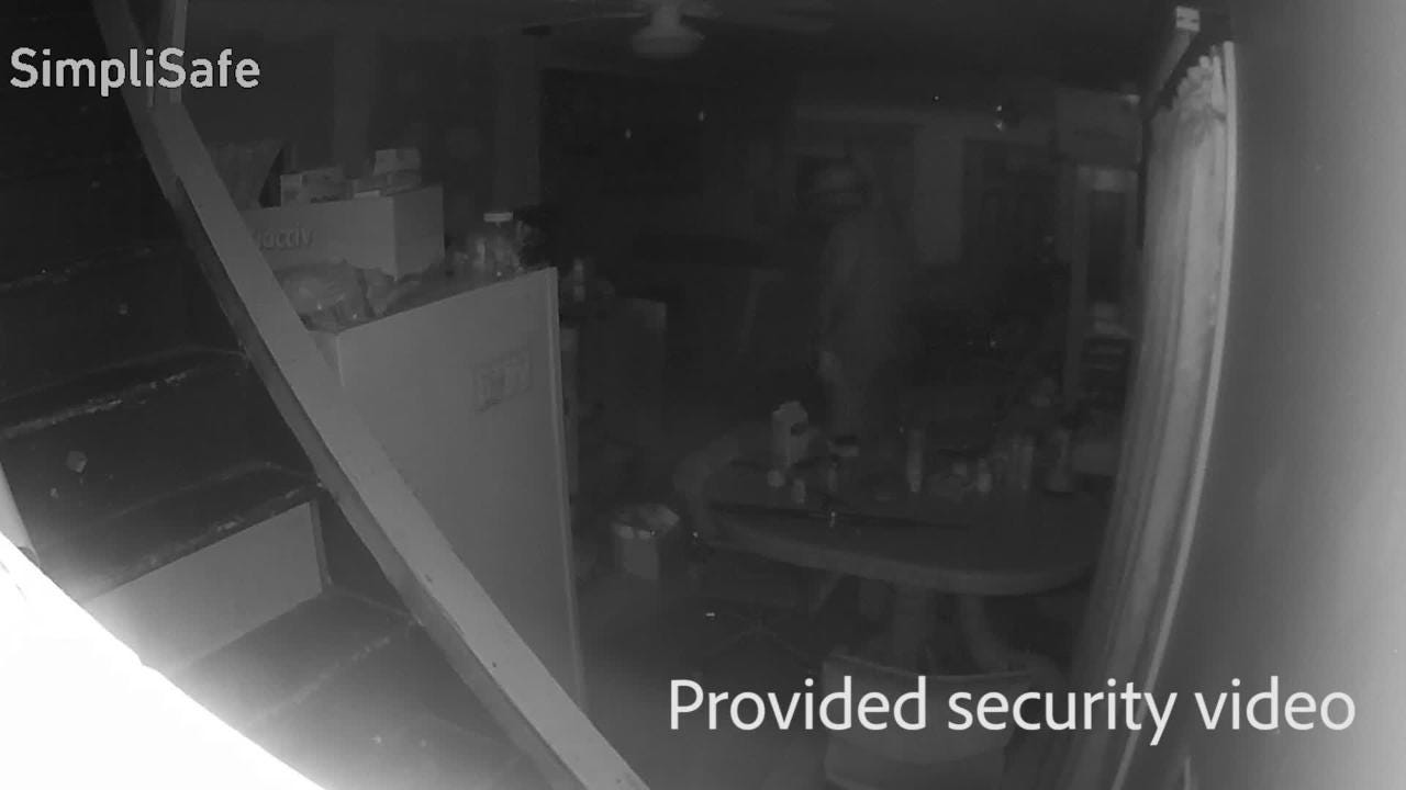 Home burglary caught on security camera gives identifiable face as  homeowner's son confronts one of the alleged intruders.