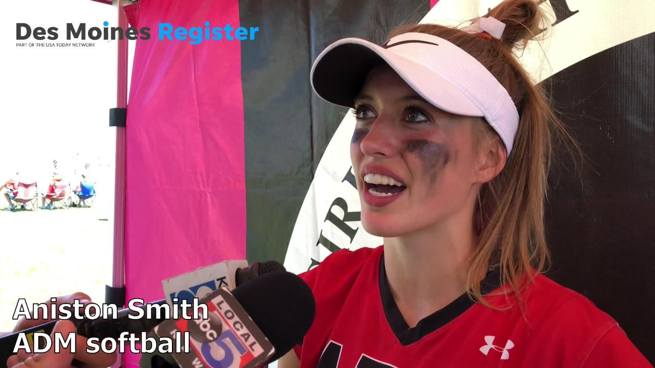ADM's Aniston Smith discusses the Tigers' 9-1 win over Dallas Center-Grimes on Tuesday in Fort Dodge.