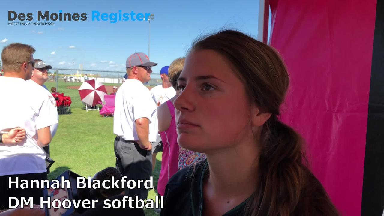 Senior Hannah Blackford talks after the Huskies' 7-2 win over Charles City on Tuesday in Fort Dodge.