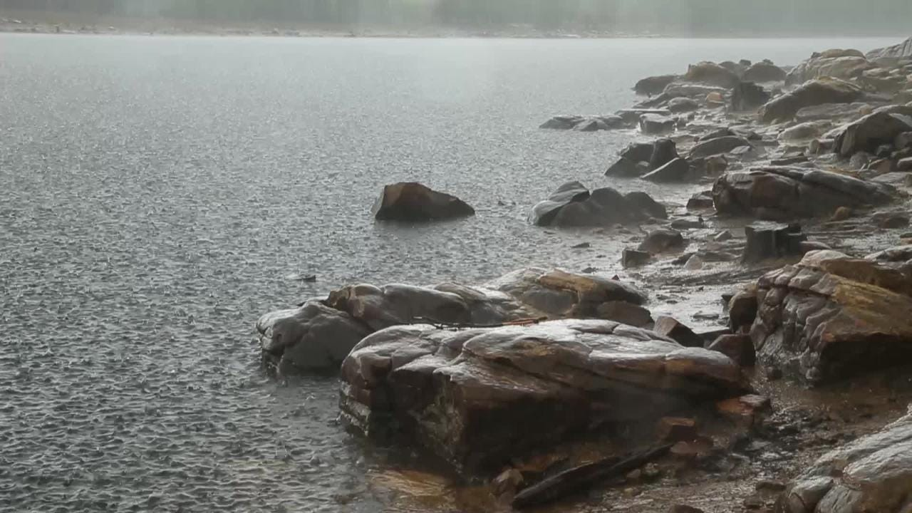 Heavy rain and hail inundates Willow Springs Lake in the Apache-Sitgreaves National Forest on July 16, 2018.