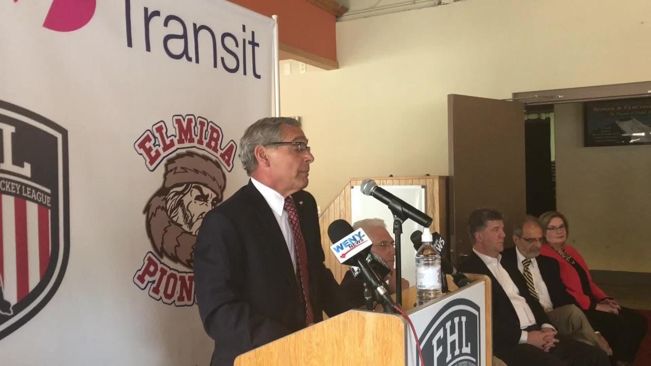 A press conference was held July 17 at First Arena announcing team owner Robbie Nichols will bring a Federal Hockey League team to Elmira.