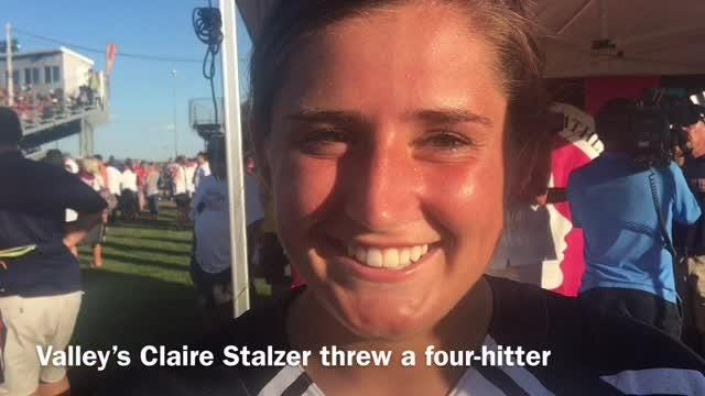 Claire Stalzer led her team to a 2-1 win over Johnston at the state softball tournament.