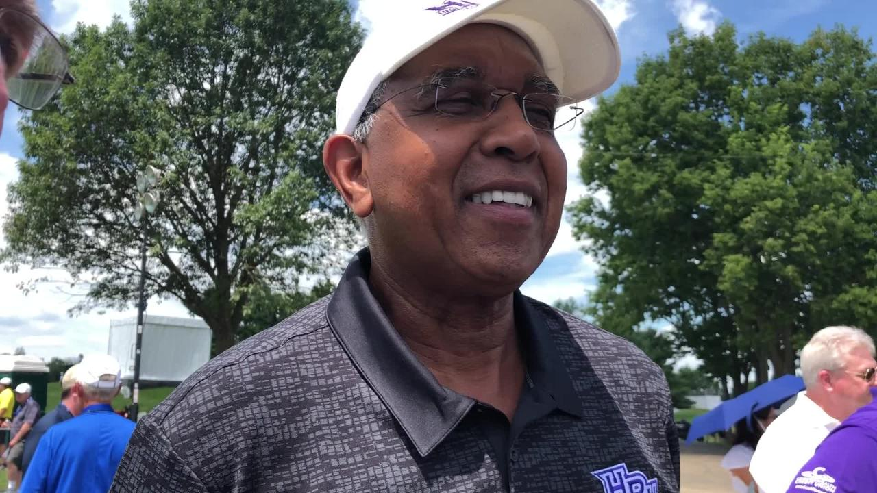 Former Kentucky basketball coach Tubby Smith talks before teeing up at the Barbasol Championship Pro-AM