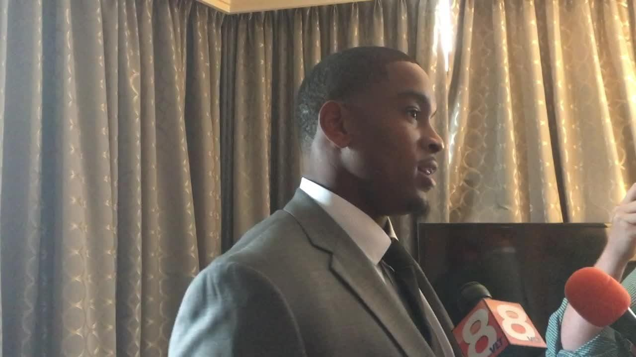 Tennessee Vols defensive end Kyle Phillips talks with reporters at SEC Media Days.