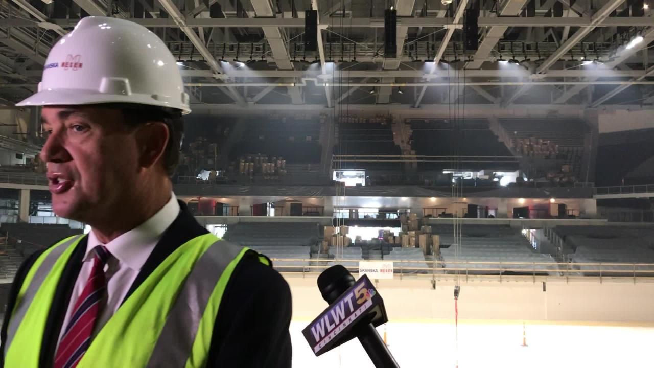 Cincinnati Bearcats athletic director Mike Bohn on Wednesday gave an update on UC's $87 million Fifth Third Arena renovations.