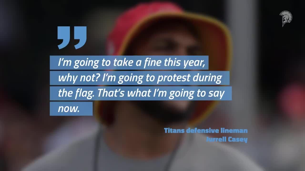The NFL this offseason attempted to diminish on-field protests during the national anthem by instituting a rule that such actions would result in a fine Titans defensive lineman Jurrell Casey told CNN isnt going to let a fine stop him deter him from