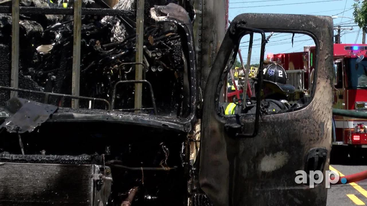 A fire destroys a 35-foot box truck on Norwood Avenue in Long Branch Thursday morning.