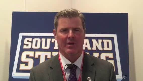 Demons coach Brad Laird talks NSU football at SLC Media Day in Houston.