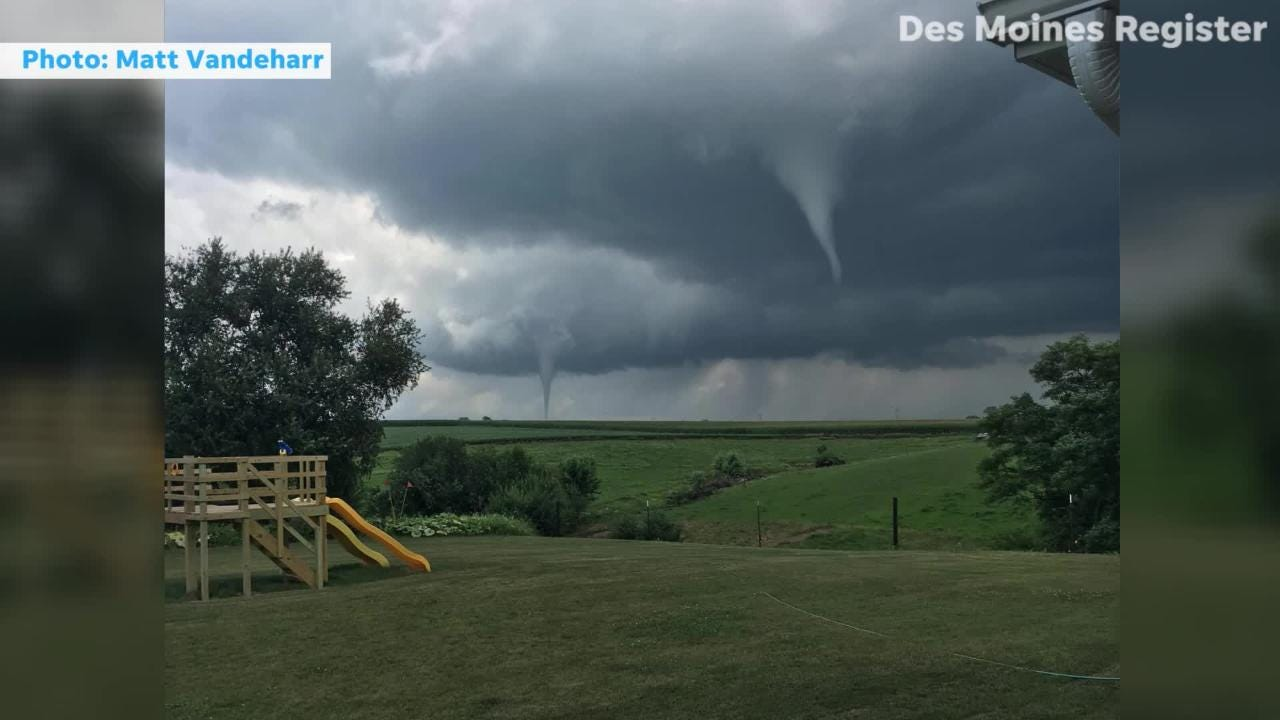 Video and photos submitted by eye witnesses show tornadoes and funnel clouds swirling around Bondurant.