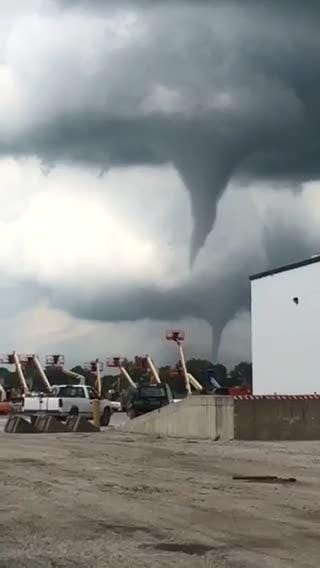 A reader-provided video shows a pair of funnel clouds Thursday, July 19, 2018, in central Iowa.