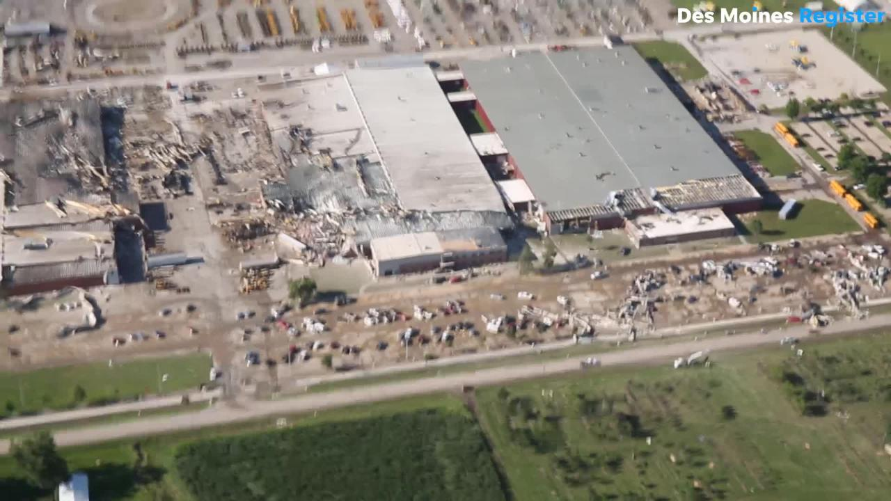 Aerial view of extensive torndo damage at Vermeer Corp in Pella, Iowa.